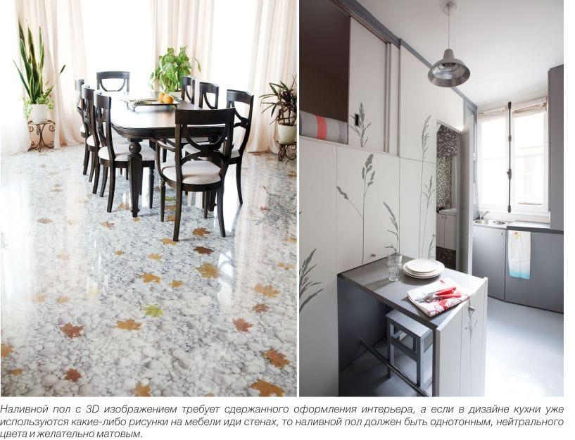 עיצוב הרצפה עצמית פילוס במטבח - 3D ו לבן מאט