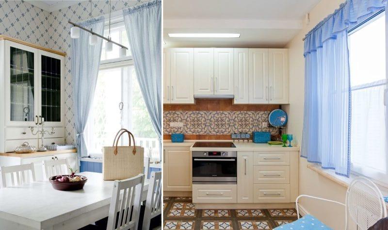 וילונות קצרים אל אדן החלון שבחלקו הפנימי של המטבח בסגנון כפרי