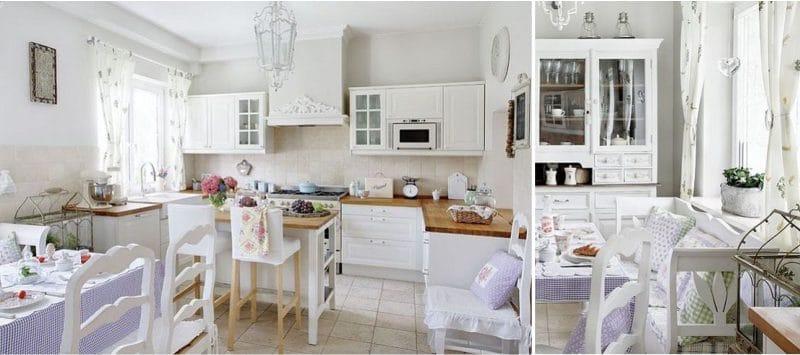 וילונות קצרים אל אדן החלון שבחלקו הפנימי של המטבח בסגנון פרובאנס