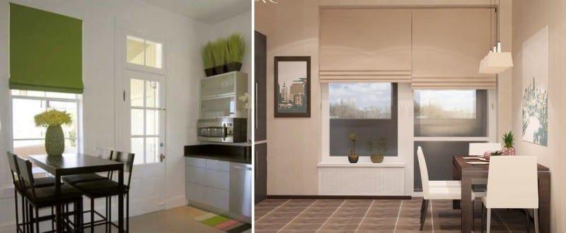 וילונות קצרים במטבח עם גישה למרפסת