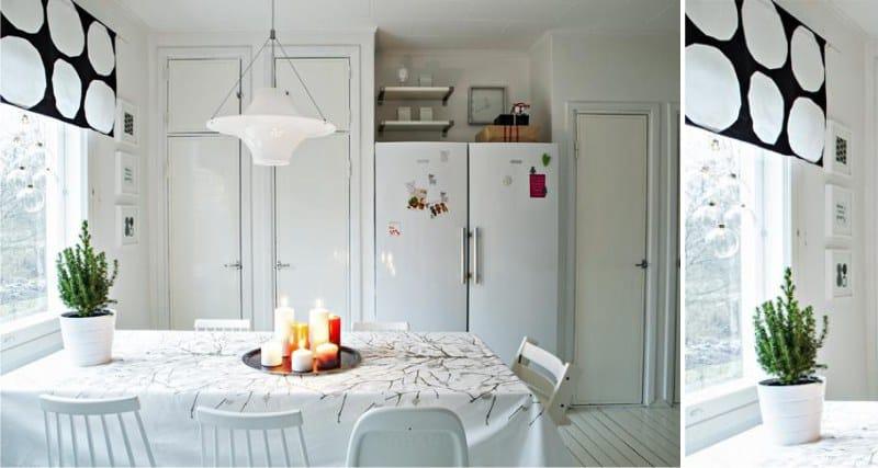 וילונות קצרים במטבח בסגנון סקנדינבי