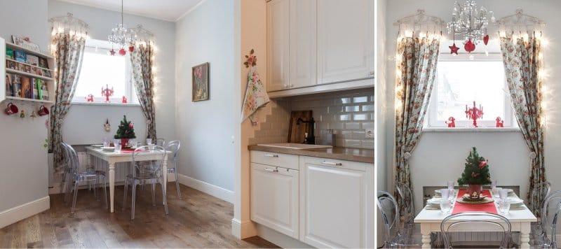 וילונות קצרים בפנים המטבח בסגנון פרובנס