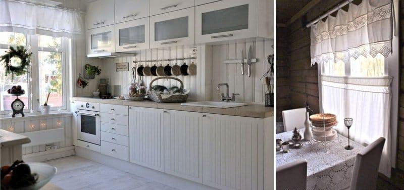 וילונות קצרים בצורת lambrequin במטבח בסגנון כפרי