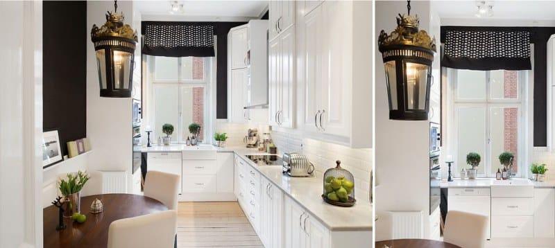 וילונות קצרים בצורת lambrequin במטבח בסגנון פיוז 'ן