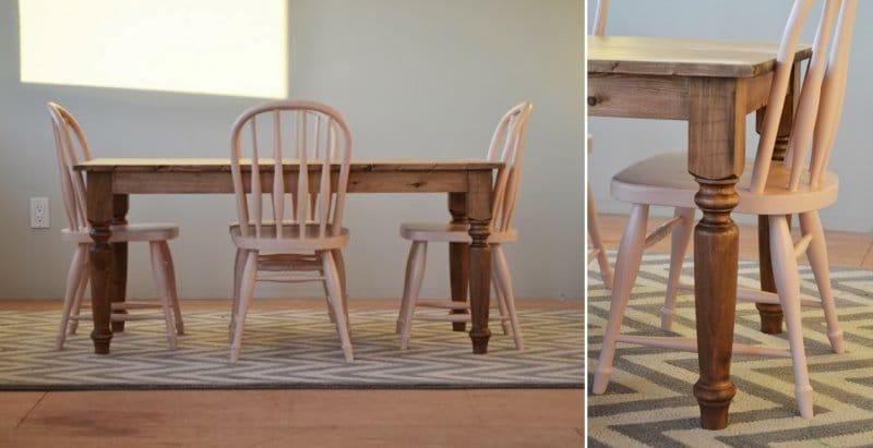Tee-se-itse-keittiön pöytä - designideoita - värjättyä puuta