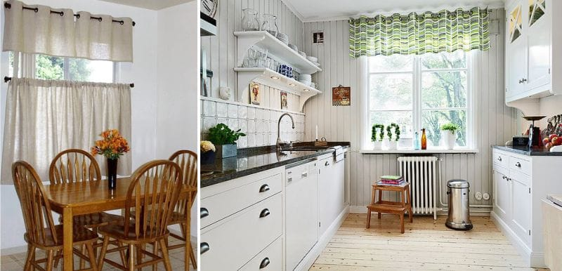 Lambrequin על grommet בפנים המטבח