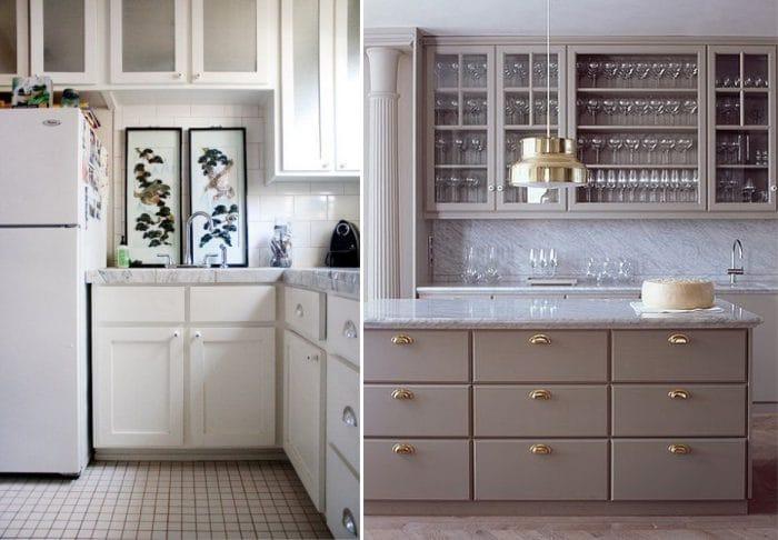 משטח עבודה שיש בפנים של המטבח הקלאסי הלבן והאפור