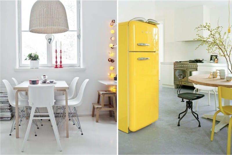 קומה גורפת בפנים המטבח בסגנון סקנדינבי