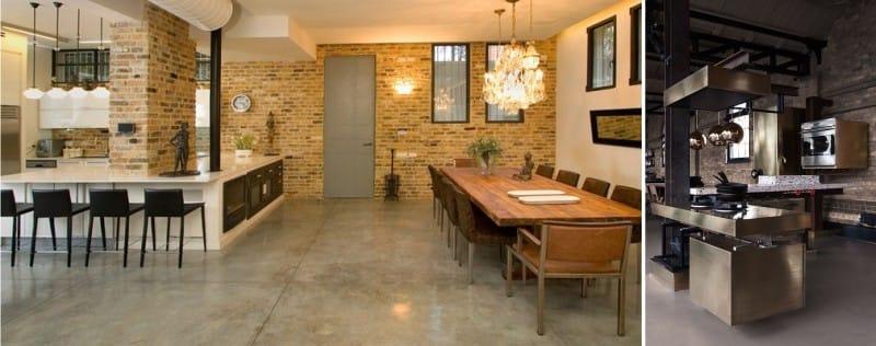קומה גורפת בפנים המטבח בסגנון של לופט ותעשייה