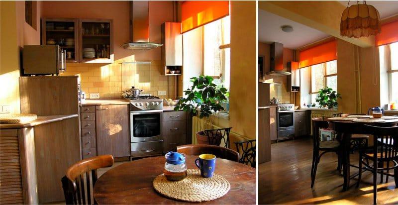 תריסים אורנג 'בפנים המטבח במטבח הישן של מוסקבה