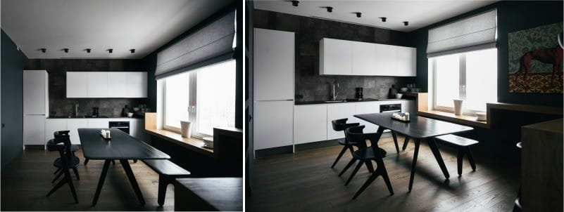 וילונות רומיים בפנים המטבח בסגנון של מינימליזם