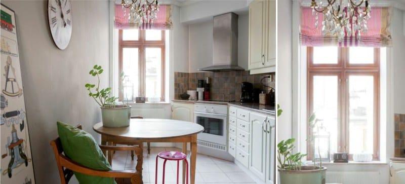 וילונות רומיים בפנים המטבח בסגנון פרובנס