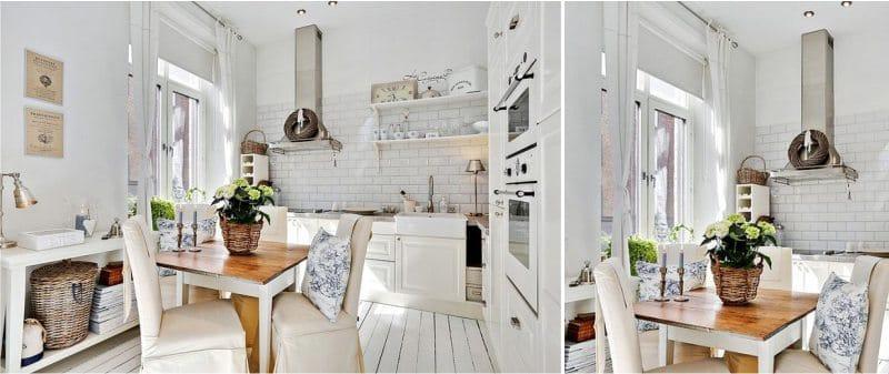 וילונות מגולגלים בפנים המטבח בסגנון פרובנס