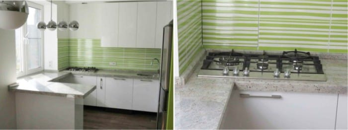 גרניט אפור במטבח בסגנון מודרני.