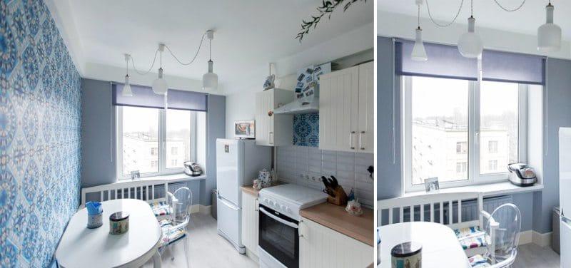 תריסי רולר כחולים במטבח