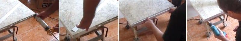 Nous graissons les extrémités avec de la silice et imposons une bande d'aluminium sur le dessus de table