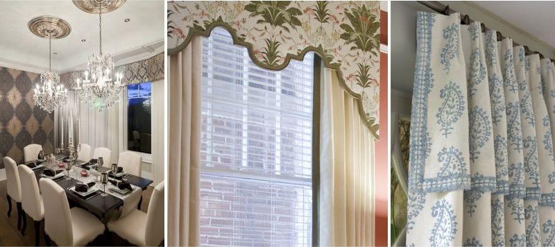 Combinaison de tissus lambrequin et rideau