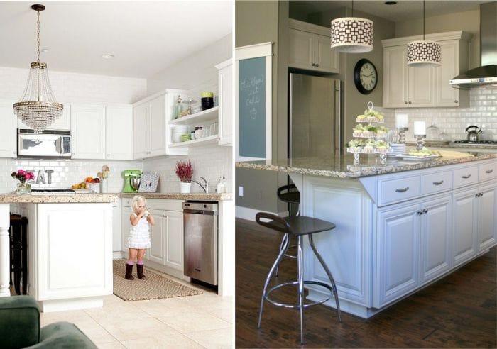 משטח עבודה גרניט במטבח פנים לבן בסגנון מודרני