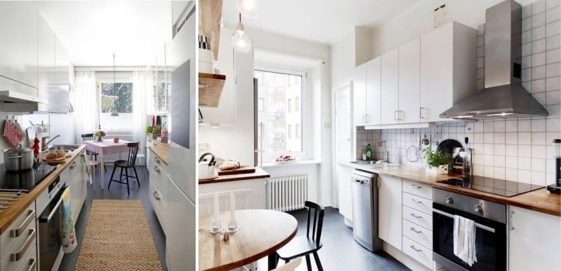 רצפת פילוס עצמי כהה בפנים המטבח בסגנון סקנדינבי