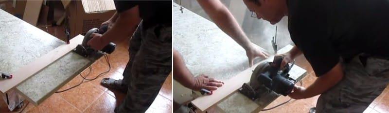Installer le dessus de table - couper l'excédent
