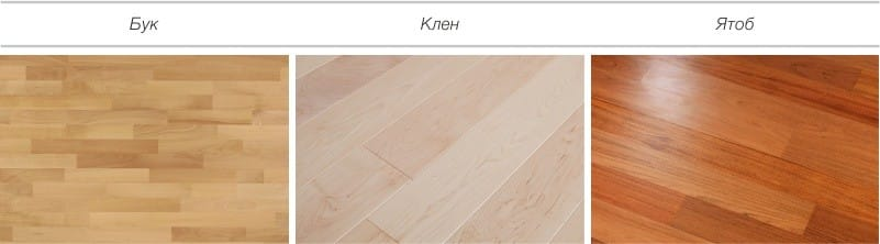 Varianter av gulvbeleggdesign - bøk, lønn, jatoba