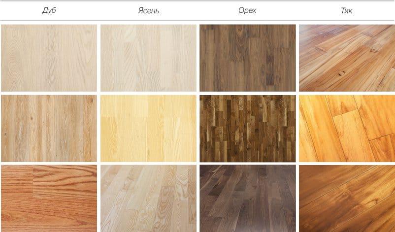 Varianter av gulvdesign i gulv - eik, ask, valnøtt, teak