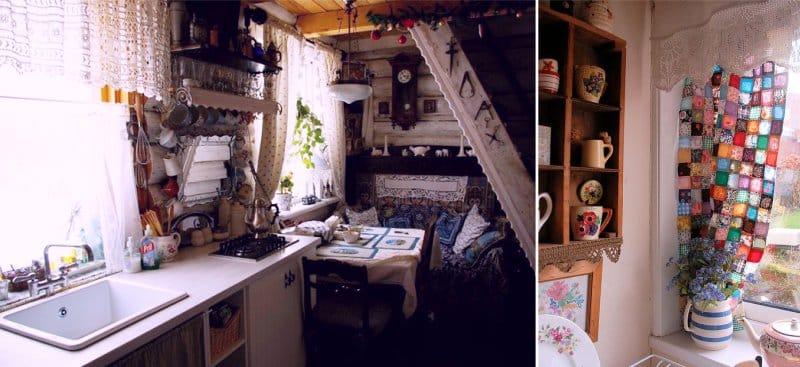 וילונות סרוגה בפנים המטבח