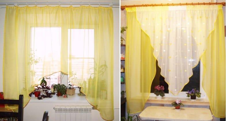 Sárga függönyív a konyhához