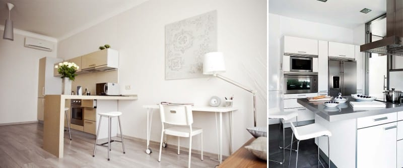 Barový pult a ostrov v interiéru kuchyně ve stylu minimalismu