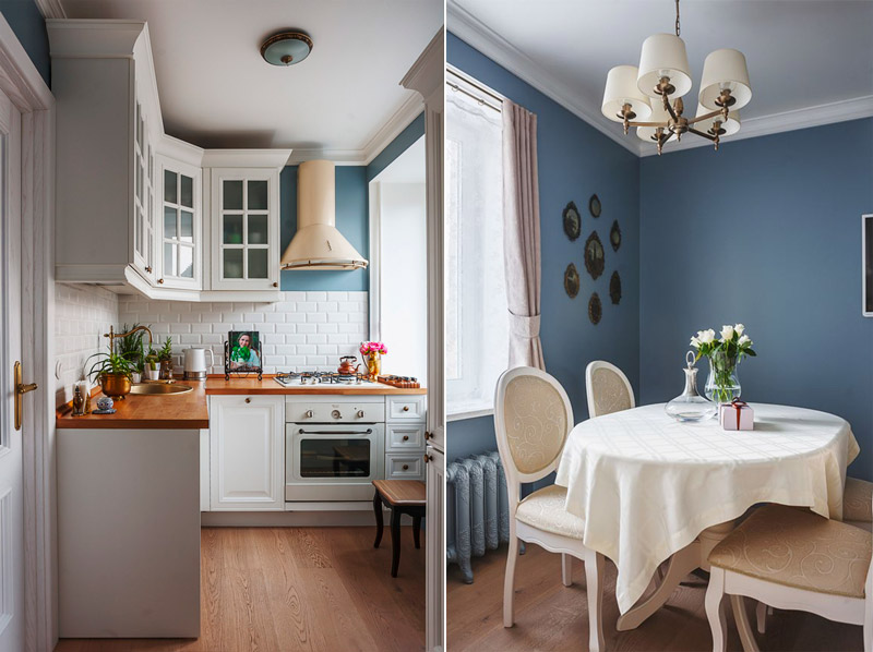 Dapur putih dengan dinding biru