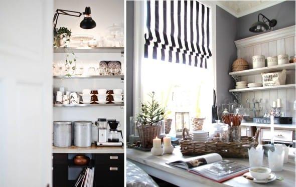 Svítidla v interiéru kuchyně v různých výškách