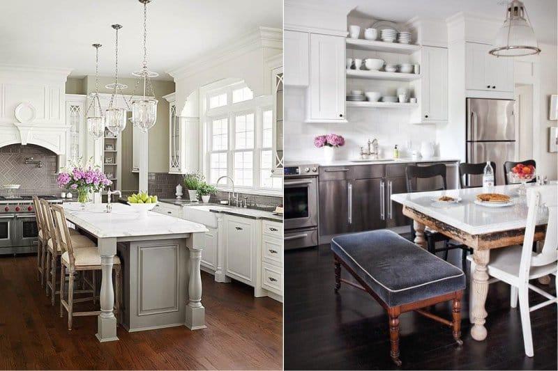 Plancher en bois à l'intérieur d'une cuisine classique blanche