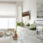 Reka bentuk dapur monokrom putih