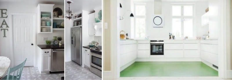 A linóleum kialakítása és színe a konyhában