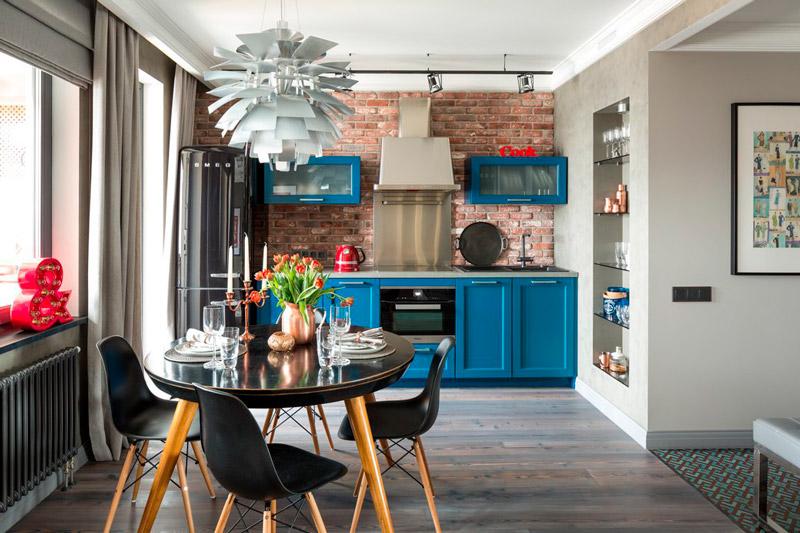 מטבח-אוכל וסלון עיצוב