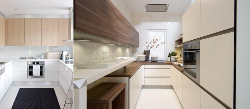 Kombinace dřeva a plastu v designu kuchyňského nábytku ve stylu minimalismu