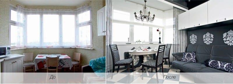 Konyha a trapéz alakú ablakkal a П-44Т sorozat házában - előtte és utána