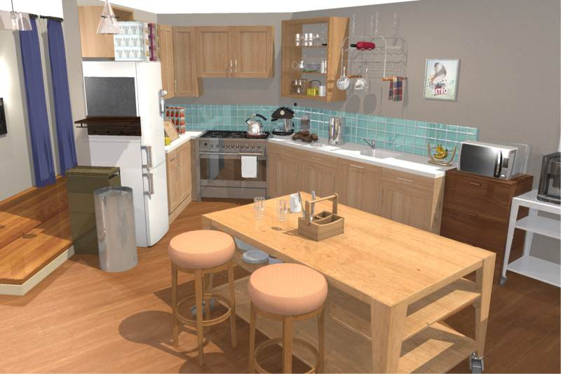 Cocina en la serie The Big Bang Theory - Visualización 3D.