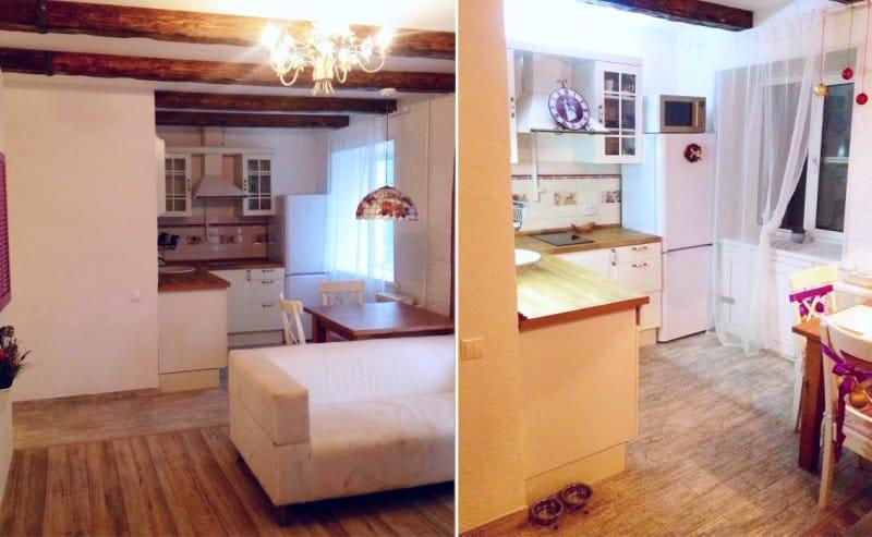 Linóleum a konyhában Provence stílusában