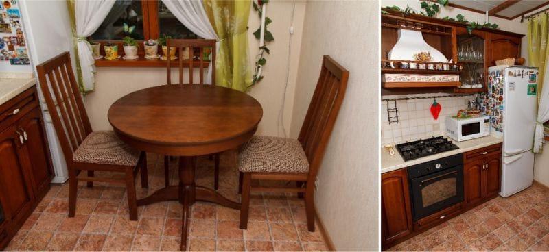 Linóleum cserép a konyhában klasszikus stílusban