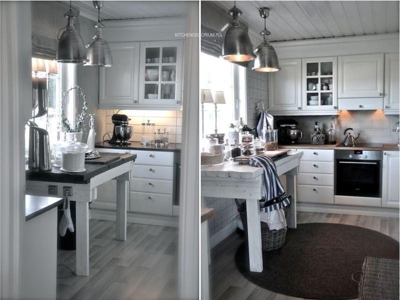 Linóleum a konyha belsejében a skandináv ország stílusában