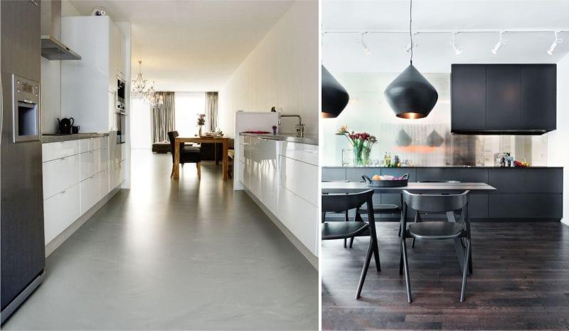 Linóleum a konyha belsejében a high-tech és a minimalizmus stílusában