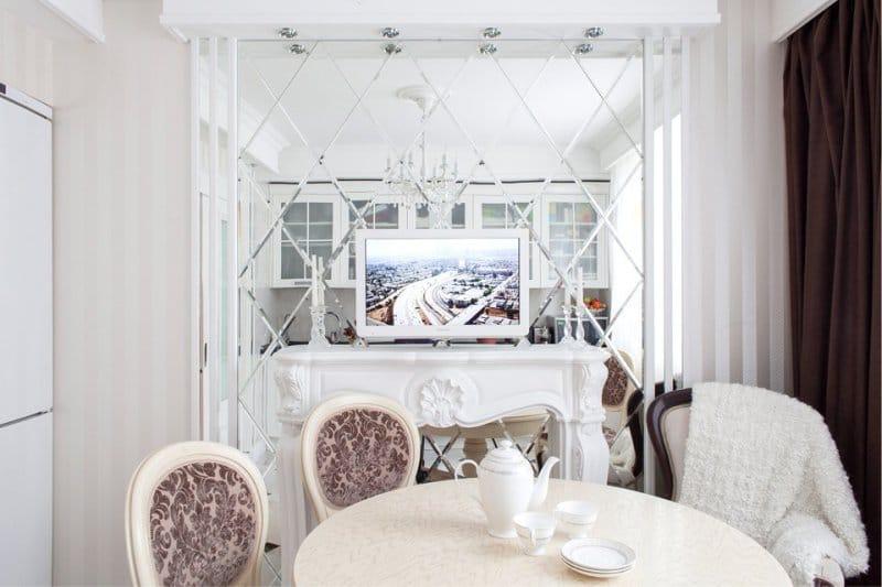 Papier peint à l'intérieur d'une petite cuisine blanche dans un style classique