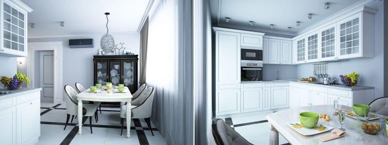 Világítás spotlámpa konyha kombinálva a folyosón