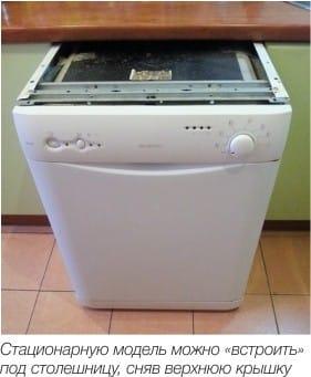 Szabadon álló mosogatógép fedelével eltávolítva, részleges beágyazáshoz