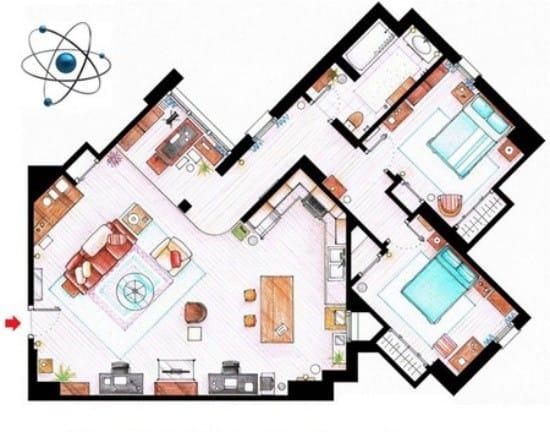 Plan af lejligheden og køkken-stuen Sheldon og Leonard