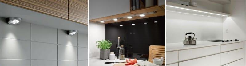 A konyhai munkaterület megvilágítása a szekrény alatt