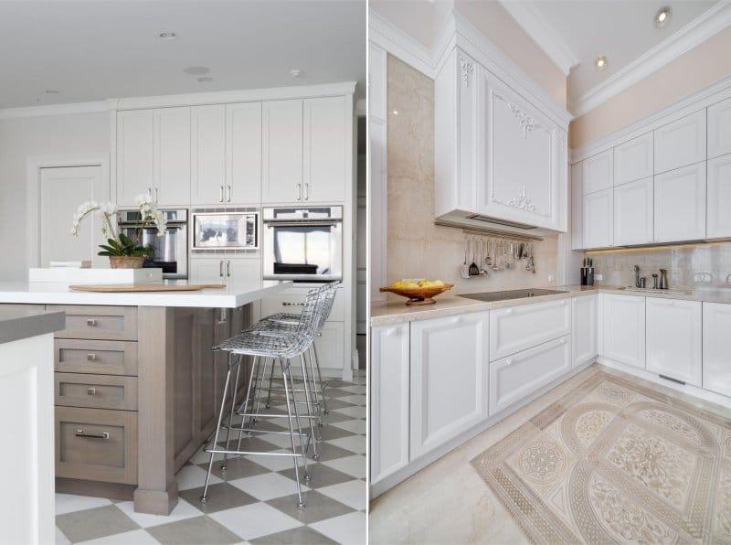 Le sol des carreaux à l'intérieur de la cuisine dans un style classique