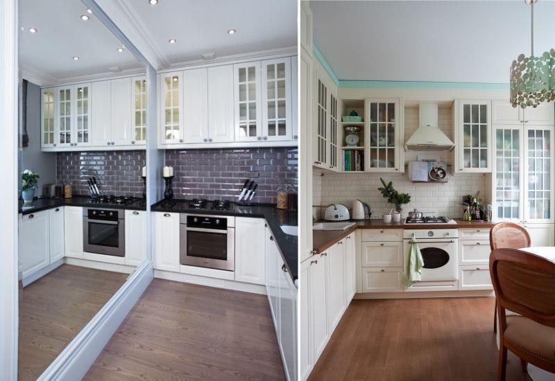 Plancher dans une petite cuisine classique