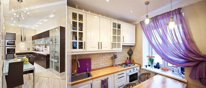 A konyhában a fénypontok és csillárok elhelyezése sokoldalú